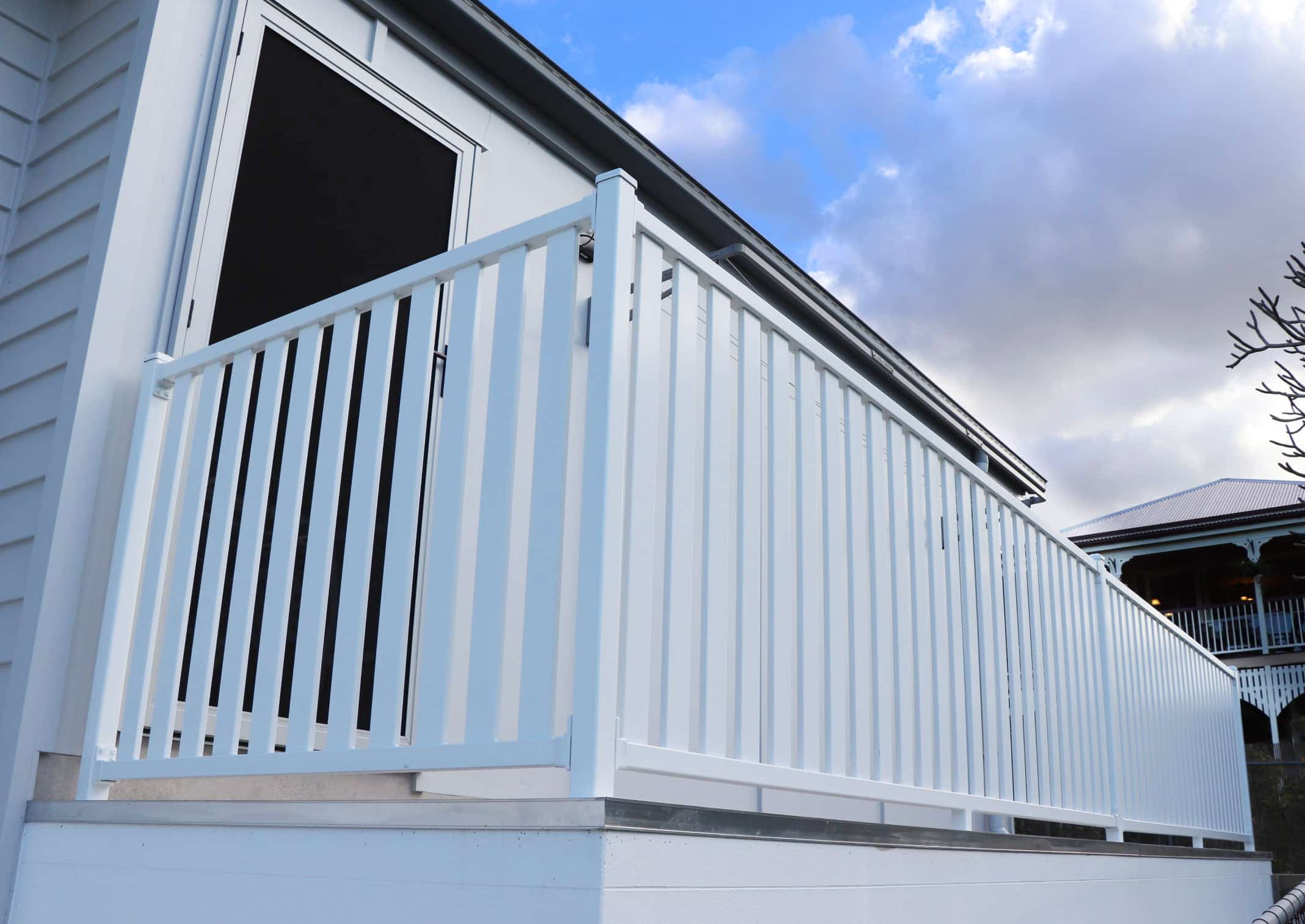 Slated Aluminium Balustrade - White