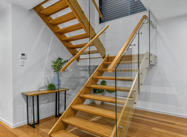 Glass Staircase Balustrade with Timber Handrails