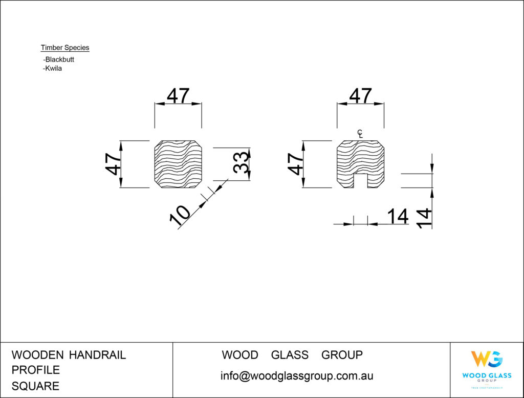 Square Wooden Handrail Profile Diagram for Blackbutt and Kwila Timber Species