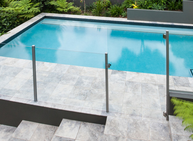 semi framed glass pool fence